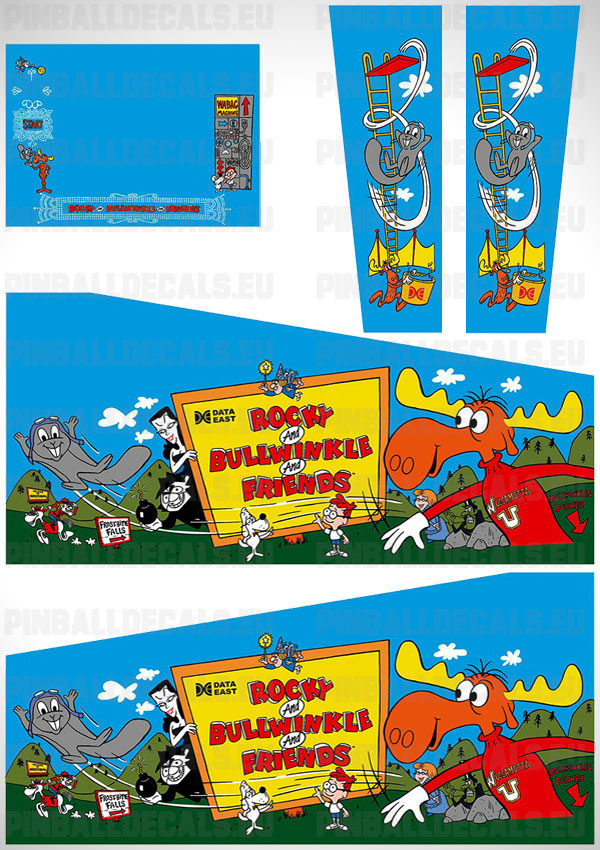 Rocky and Bullwinkle Flipper Side Art Pinball Cabinet Decals Artwork