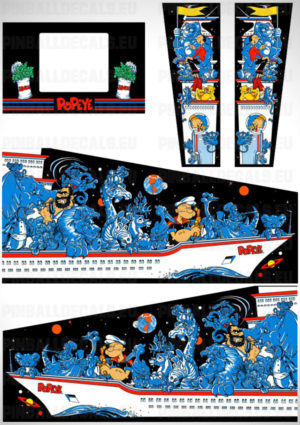 Popeye Saves the Earth – Pinball Cabinet Decals Set