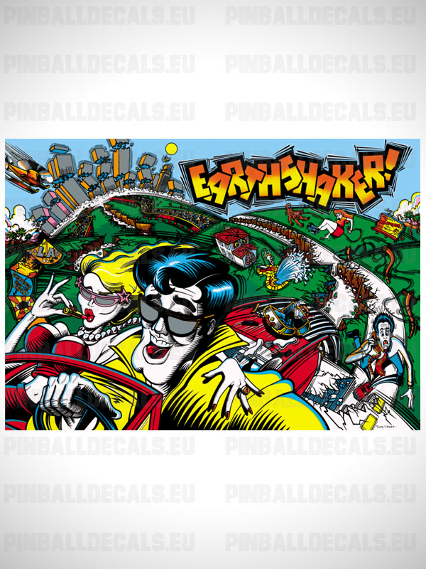 Earthshaker Pinball Flipper Translite Backglass Backbox Art